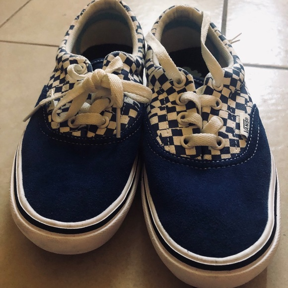 Vans Shoes | Blue Lace Up Checkered